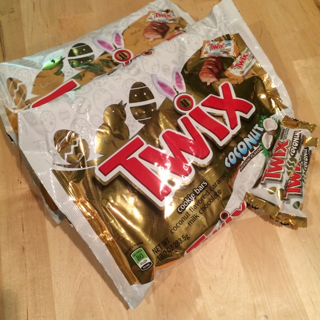 [Tragically finished my last bag of the most delicious candy Duane Reade can offer- limited edition coconut Twix. UGH]