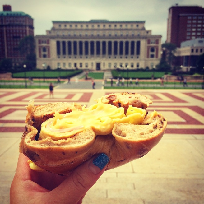 [Throwback! Eating a Nussbaum and Wu ham, egg and cheese breakfast sandwich on The Steps (at Columbia University)]