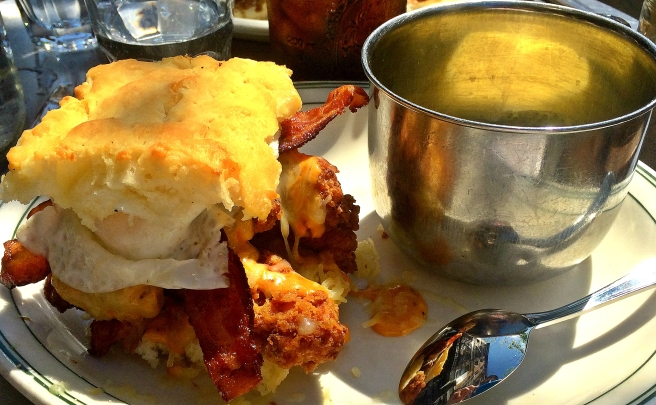Chicken, Bacon Egg & Cheese Biscuit Sandwich- buttermilk fried chicken, nitrate-free bacon, egg, picnic sauce, 2 year aged vermont cheddar