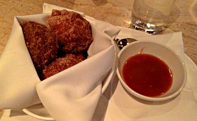 Warm donuts with Caramel Sauce